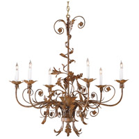 Wildwood Lamps Curleycues In Rust Chandelier in Art Glazed Florentine Iron 2870