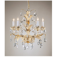 Wildwood Lamps Crystal And Leaves Chandelier in Hand Finished Gold With Rubbed White 2882