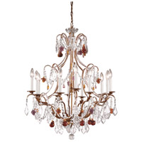 Wildwood Lamps Beaded Crystals Chandelier in French Gold With Polychrome Crystals 2898