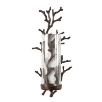Wildwood Lamps Coastal Cast Alloy With Bronze Patina Coral Sconce - Antique Glass Hurricane 292430