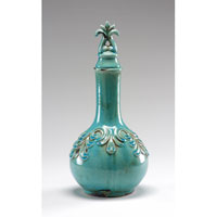 Wildwood Lamps Casual Antique Crackle Glaze Long Neck Covered Flask - Hand Finished Ceramic 292435