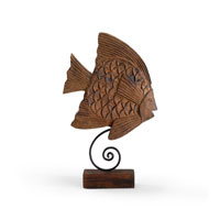 Wildwood Lamps Coastal Angel Fish Decor Accessory of Hand Carved Mango Wood in Burnt Oil 292517