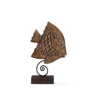 Wildwood Lamps Coastal Angel Fish Decor Accessory of Hand Carved Mango Wood in Burnt Oil Patina 292518