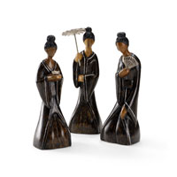 Wildwood Lamps Coastal Sitting Ladies (Set of 3) Decor Accessory in Hand Made Japanese Style 292519