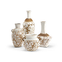 Wildwood Lamps Casual Bottles And Jars (Set of 4) Decor Accessory in Carved Ceramic 292569