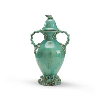 Wildwood Lamps Coastal Covered Vase in Antique Glazed Fired Ceramic 292585