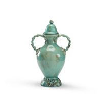 Wildwood Lamps Coastal Covered Vase in Antique Glazed Fired Ceramic 292586