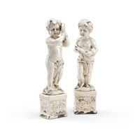 Wildwood Lamps Casual Cherubs (Set of 2) Decor Accessory in Antique Crackle Glazed Fired Ceramic 292601