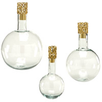 Wildwood Lamps Decorum by Mary Taylor Celtic Rings Bottles (Set 3) Antique Glass Decorative Accessory in Brass Rings Stopper 294329