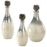 Wildwood Lamps Decorum by Mary Taylor Palacio Bottles Set 3 Art Glass Decorative Accessory in Nickel And Snowhite 294366