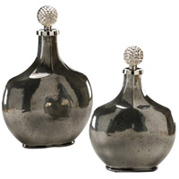 Wildwood Lamps Decorum by Mary Taylor Palacio Bottles Set 2 Art Glass Decorative Accessory in Nickel And Golden Ash 294367