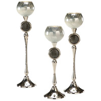 Wildwood Lamps Decorum by Mary Taylor Palacio Candlecups (Set 3) Art Glass Decorative Accessory in Polished Nickel And Snowhite 294368