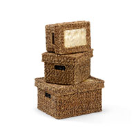 Wildwood Lamps Tommy Bahama Lidded Trunks Decor Accessory in Hand Woven Natural Materials 295449