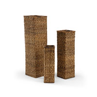 Wildwood Lamps Tommy Bahama Tall Square (Set of 3) Vase in Hand Woven Natural Materials 295452