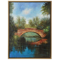 Bass Pond Bridge Gold Frame Oil Painting