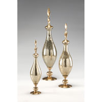 Wildwood Lamps Miscellaneous Antiqued Cast Brass Bottle (Set 3) - Hand Finished Crackle Glass 300492