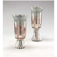 Wildwood Lamps Transitional Polished Alloy Footed Vases (Set 2) - Silvered And Antiqued Glass 300494