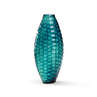 Wildwood Lamps Discovery Art Glass Vase in Blue Hues 300533