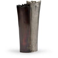 Jagged Antique Nickel and Bronze Vase, Small