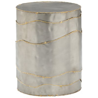 Cascade Pewter with Seared Brass Edge Stool Home Decor