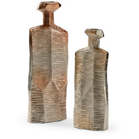 Striated Champagne Ombre Vases, Set of 2