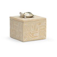 Tortoise Whitewashed Wood and Nickel Box, Small