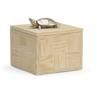 Tortoise Whitewashed Wood and Nickel Box, Large