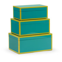 Wildwood Lamps 301324 Lexie 12 inch Teal and Lime Lacquer Boxes, Set of 3
