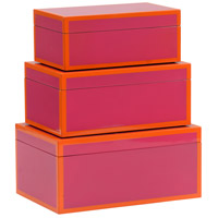 Wildwood Lamps 301325 Lexie 12 inch Fushia and Orange Lacquer Boxes, Set of 3