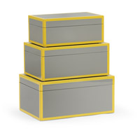 Wildwood Lamps 301326 Lexie 12 inch Grey and Yellow Lacquer Boxes, Set of 3