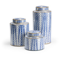 Blue Fronds 15 X 8 inch Canisters, Set of 3