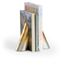 Webster 4 inch Antique Gold Leaf and Antique Silver Leaf Bookends, Set of 2
