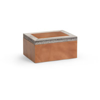 Wildwood Lamps 301481 Leather 12 inch Tan and Grey Box, Medium