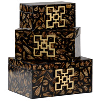Wildwood Lamps 301558 Eldon 14 inch Black and Antique Brass Boxes, Set of 3