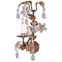 Wildwood Lamps Single Crystal & Gold Sconce in Hand Finished Iron 324 photo thumbnail