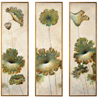 Lotus Blossum Gold Canvas, Framed Oil, Set of 3