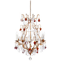 Crystal 8 Light 23 inch Hand Made Bronze And Lead Crystal Chandelier Ceiling Light