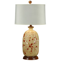 Wildwood Lamps Red Blossoms Table Lamp in Hand Painted Lacquer On Porcelain 46408