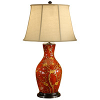 Blossoms On Red 33 inch 100 watt Hand Painted Table Lamp Portable Light
