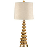 Wildwood Lamps Stacked Discs Table Lamp in Faux Brass And Stone 46501