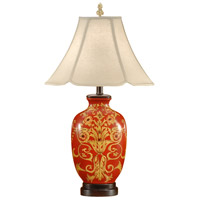 Wildwood Lamps Red Damask Table Lamp in Hand Painted Lacquer 46557