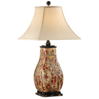 Wildwood Lamps Raised Bloom Table Lamp in Porcelain With Wood Mounting 46597 photo thumbnail