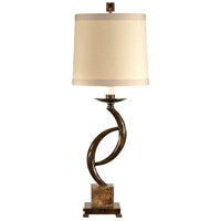 Horns Reversing 34 inch 100 watt Hand Colored Oxidized Iron Table Lamp Portable Light