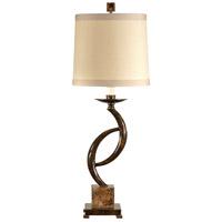 Wildwood Lamps 46624 Horns Reversing 34 inch 100 watt Hand Colored Oxidized Iron Table Lamp Portable Light