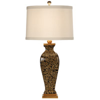 Wildwood Lamps Repeating Swirls Table Lamp in Old Gold On Black Lacquer 46649