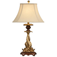 Wildwood Lamps Double Dolphins Table Lamp in Hand Colored Old Gold 46764