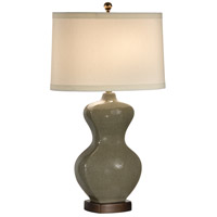 Wildwood Lamps Slim Waist Bottle Table Lamp in Green Crackle 46770