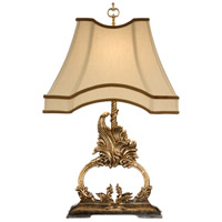 Gilt Flourish 28 inch 100 watt Gold Metal Leaf With Old Silver Table Lamp Portable Light