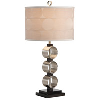 Substantial Rings 30 inch 100 watt Brushed Nickel With Wood Table Lamp Portable Light