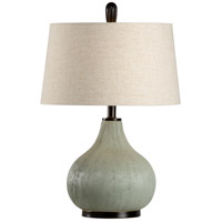Fig 25 inch 100 watt Sage Glaze and Bronze Table Lamp Portable Light